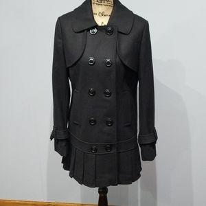 Womens wool blend pleated peacoat